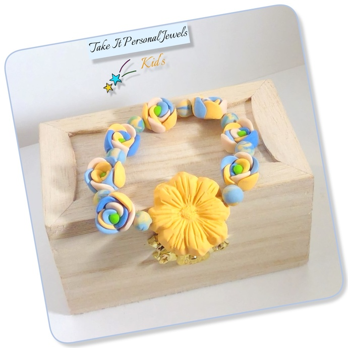Girl's Flower Statement Stretch Bracelet Polymer Clay jewelry kid's gift