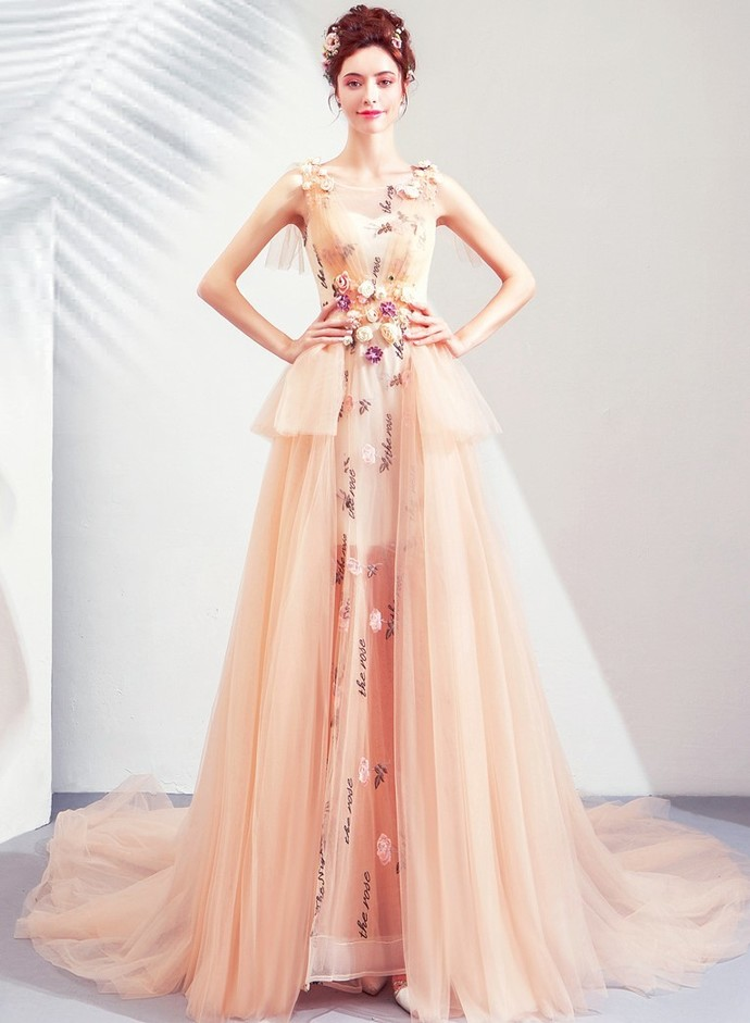 Charming Prom Dress,Tulle Prom Gown, A-Line Prom Dress,Appliques Wedding Gown