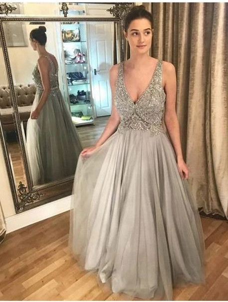 Gray Prom Dress,Tulle Prom Gown, A-Line Prom Dress,Beading Wedding Gown 0051