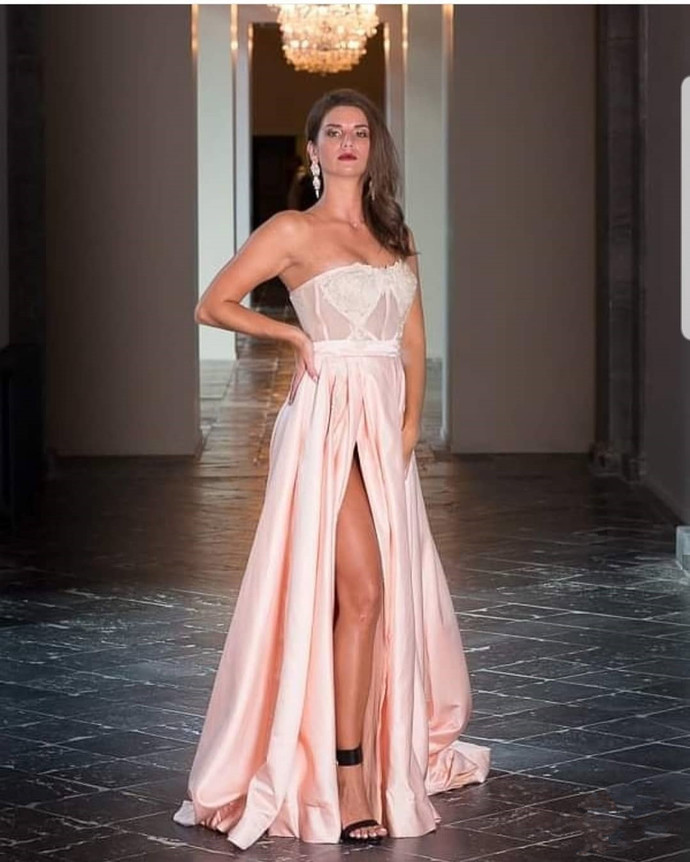 Pink Prom Dress,Satin Prom Gown, A-Line Prom Dress,Strapless Wedding Gown 0053