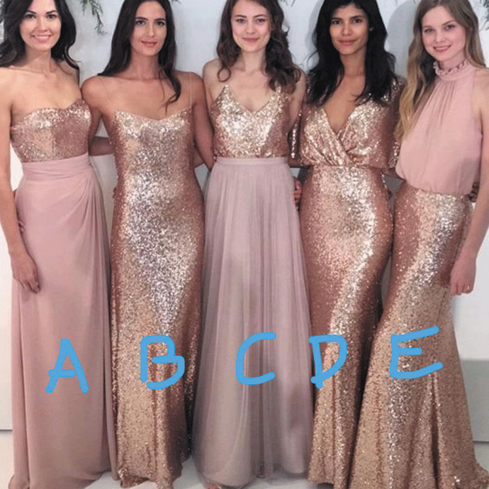 mismatched bridesmaid dresses long rose pink sparkly chiffon cheap wedding party