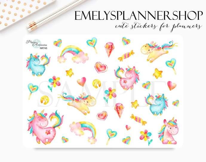 Funny Unicorn Sticker Sheet 745