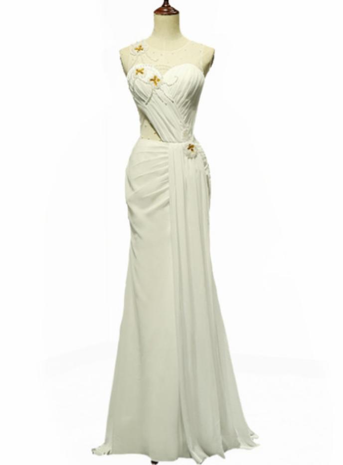 White Chiffon With Beading Prom Dresses High Quality Prom Dresses Unique Robe De