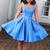 Simple Blue Satin Short Homecoming Dress, Elegant A Line Prom Dress