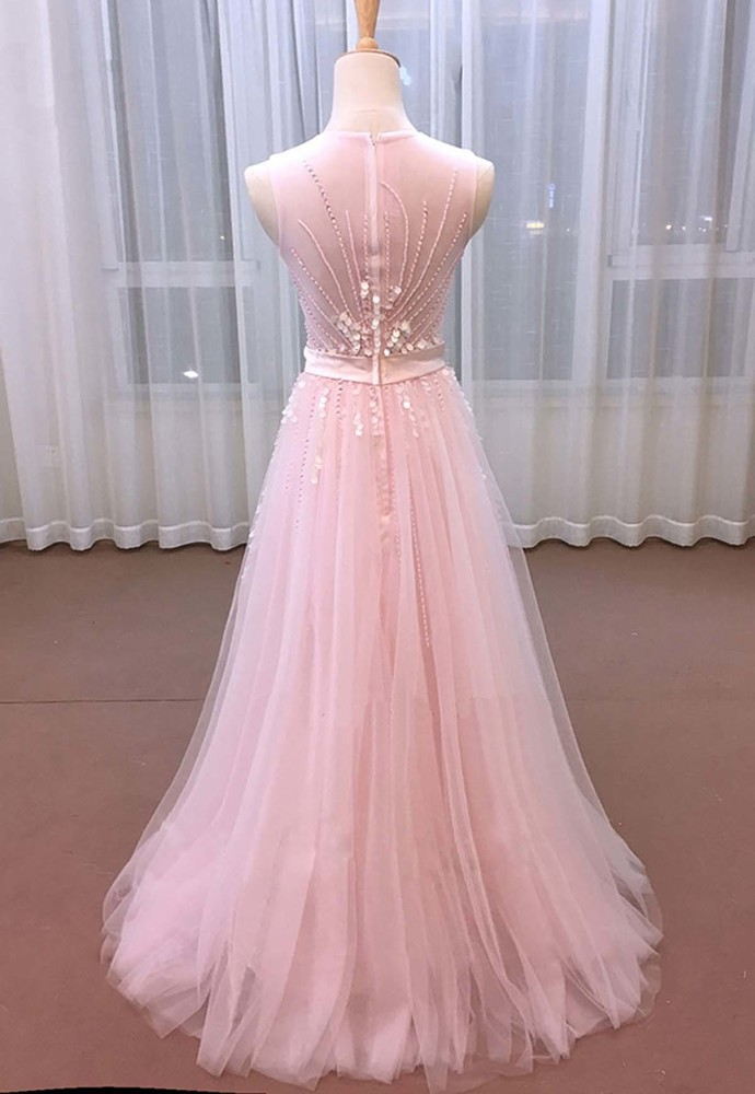 Pink Tulle Sequins Long Sweet 16 Prom Dress With Bowed Sash
