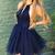 A Line Jewel Sleeveless Navy Blue Short Homecoming Dress