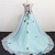 Light Blue Tulle Puffy Long Colorful Flower Applique Sweet Prom Dress, Evening