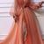 Gorgeous Glamorous V neck Long Sleeve Prom Dresses Orange Long Evening Dress
