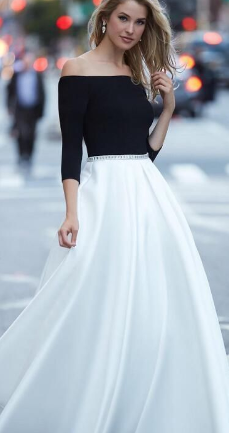 black and white long prom dress, off the shoulder half sleeves prom dress