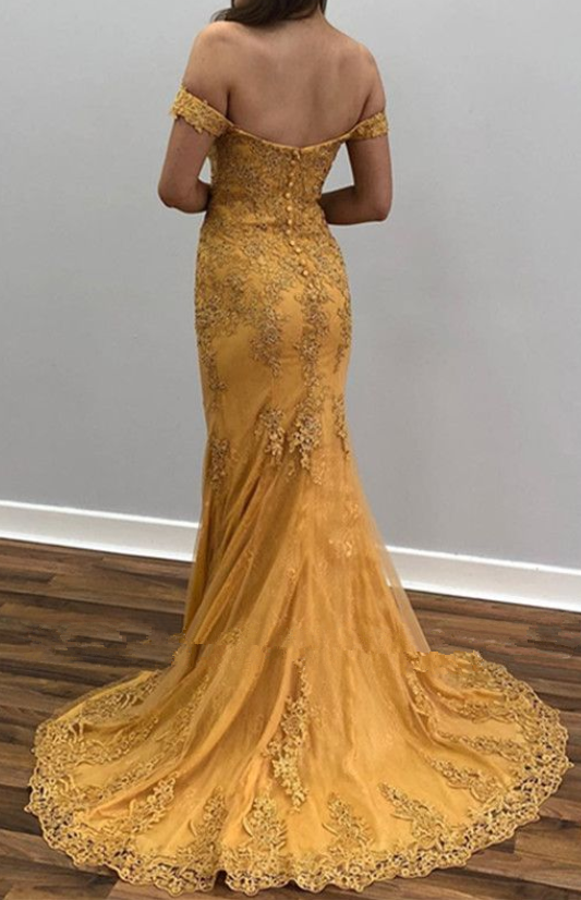 Yellow Off-The-Shoulder Appliques Sexy Mermaid Prom Dresses