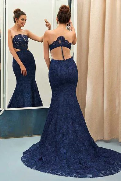 Unique Navy Blue Lace See-through Round Neck Mermaid Floor-length Prom Dress