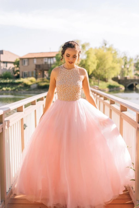 Charming Ball Gown Beading Long Blush Pink Tulle Prom Dresses