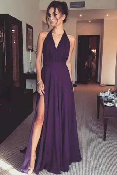 Elegant V Neck Purple Chiffon A Line Long Prom Dress with Slit