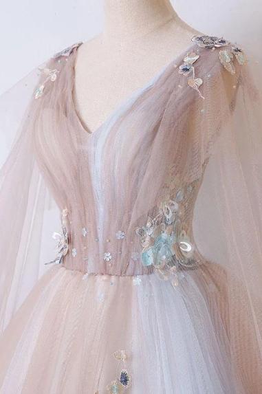 Romantic Tulle V neck Long Evening Dress,Lace Appliques Senior Prom Dress