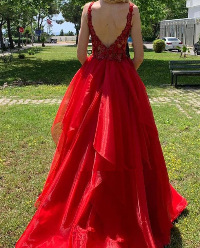 Sexy Dee V Neck Red Organza Long Prom Dress | Cheap Layers Lace Straps Prom Gown
