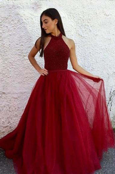 Burgundy Halter Beaded A Line Sleeveless Tulle Long Prom Dress