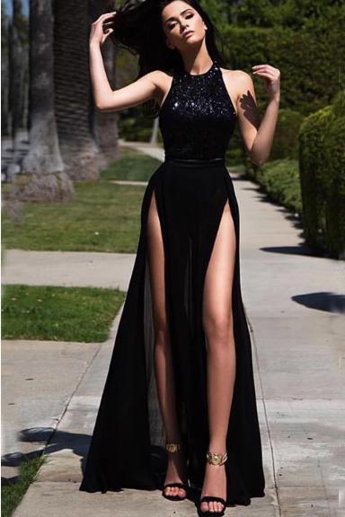 Black Sexy High Slit A-line Long Formal Chiffon Prom Dresses