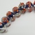 10 Blue and Orange Flowered Lampwork Beads