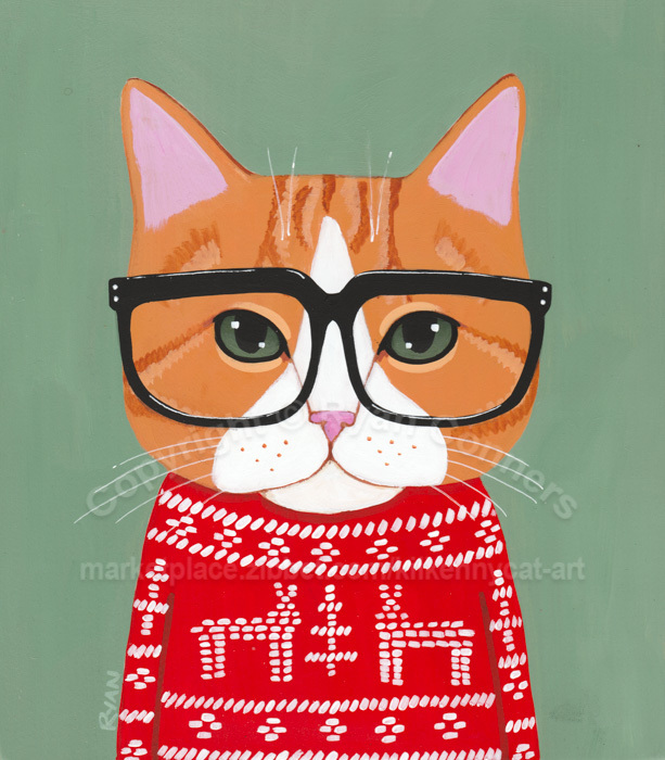 Ginger Cat Ugly Christmas Sweater Original Cat Folk Art Painting