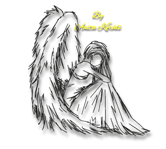 Angel Christmas machine embroidery design outline instant digital download