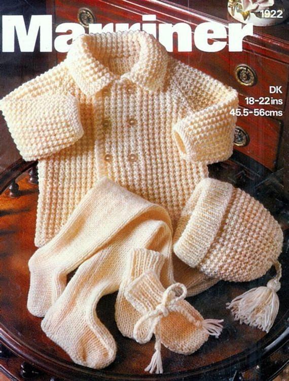 Instant PDF Digital Download Vintage Knitting Pattern Baby Babies Coat/Jacket