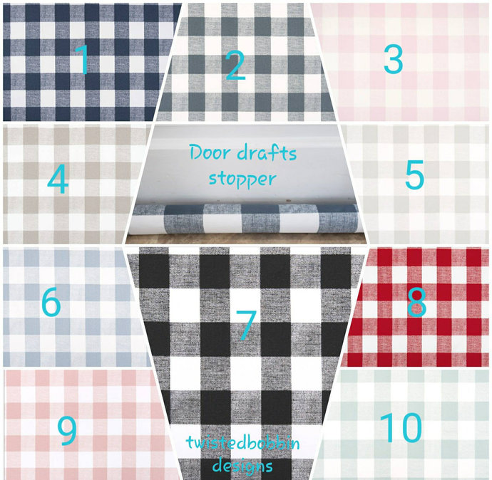 Buffalo Check Drafts stopper. Check Doors drafts stopper. mix match. handmade.