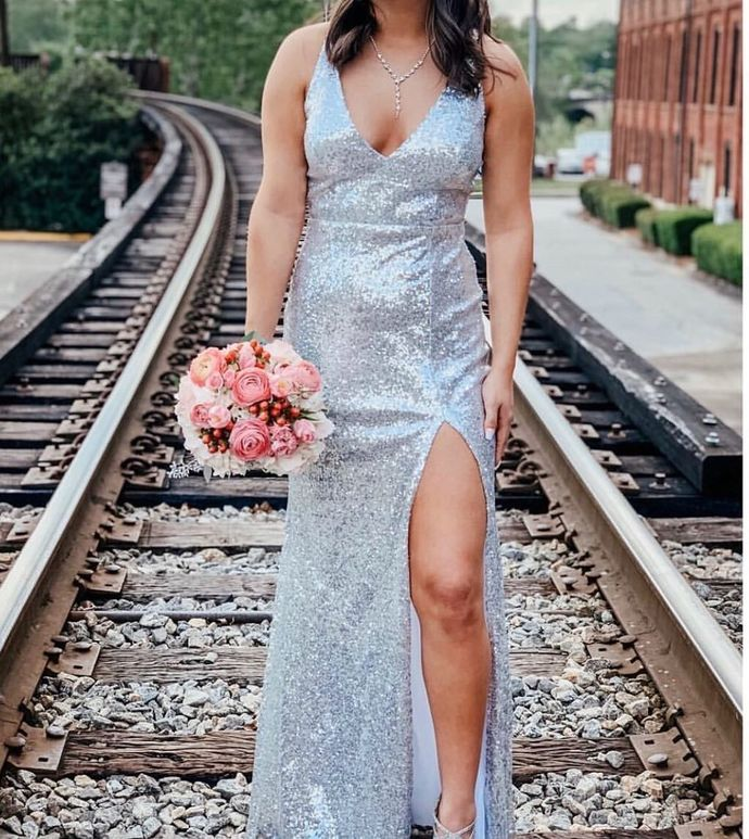 Silvery Prom Dress,Mermaid Prom Gown, V-Neck Prom Dress,V-Neck Wedding Gown 0055
