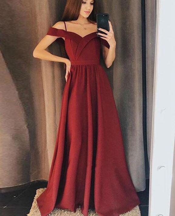 Pretty Spaghetti straps Wine Red Prom Dress, Off the Shoulder A line Prom