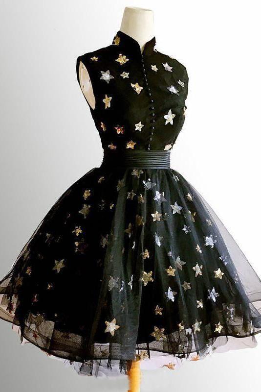 Cute Black Short High Neck Black Prom Dresses Cute Homecoming Dresses