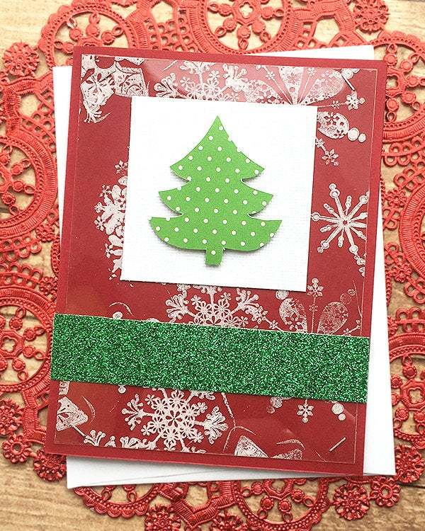 Christmas Tree, Snowflakes and Glitter Holiday Card, Merry Christmas, Friend,