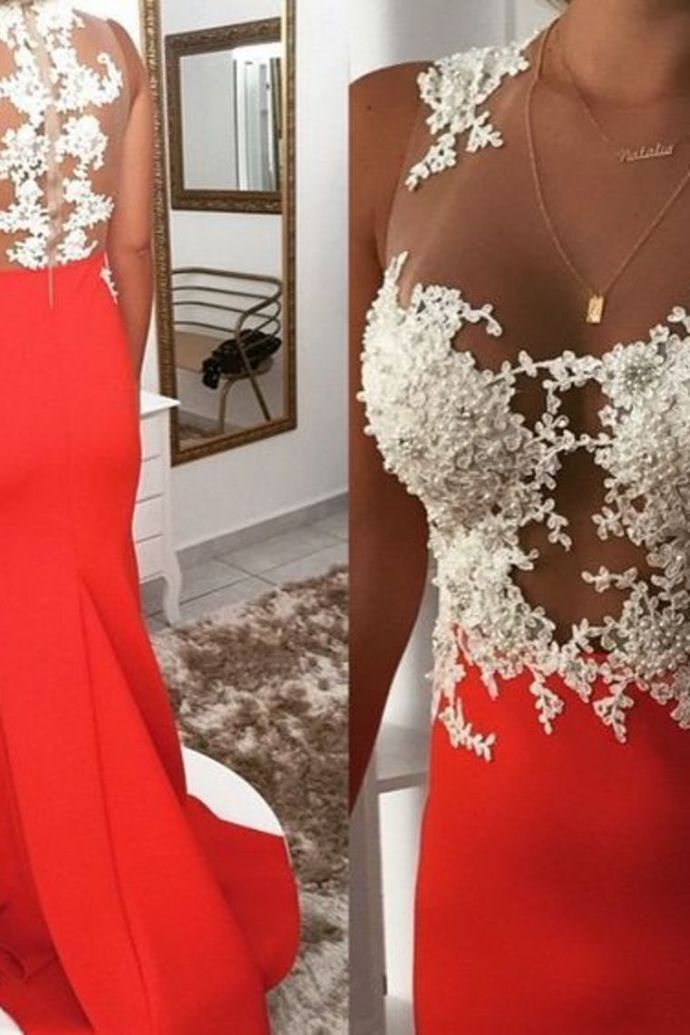 Sexy Scoop Neck Prom Dresses With Appliques And Beadings Zipper Up Spandex AE509
