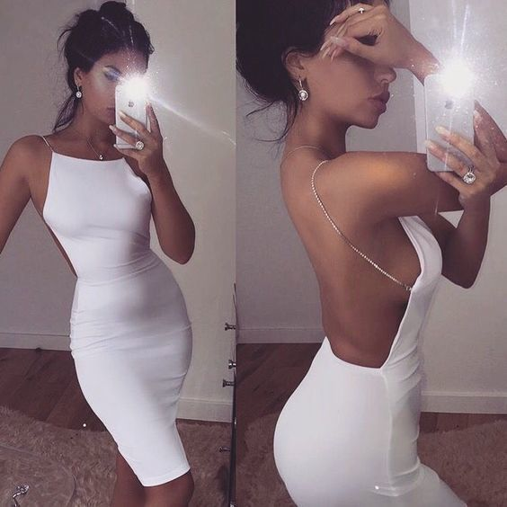 White Backless Pencil Dress,Short Homecoming Dress,Fashion Homecoming dress
