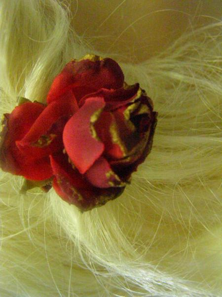 Red Gold Star Ribbon Red Flower Barrette Aileen