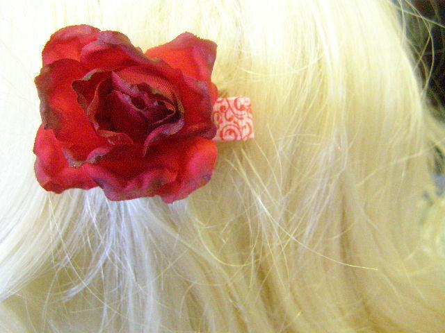 Red White Swirl Ribbon Barrette Alana