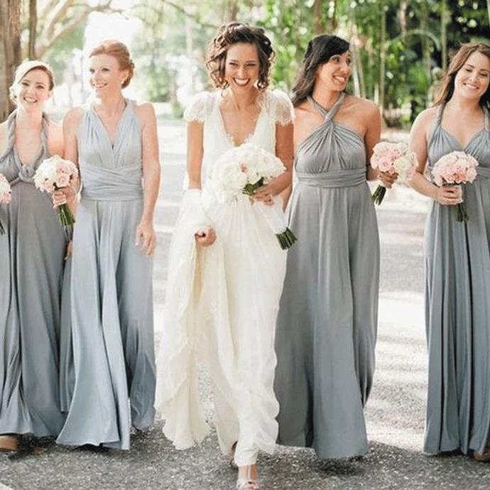 convertible bridesmaid dresses long silver cheap chiffon a line wedding guest