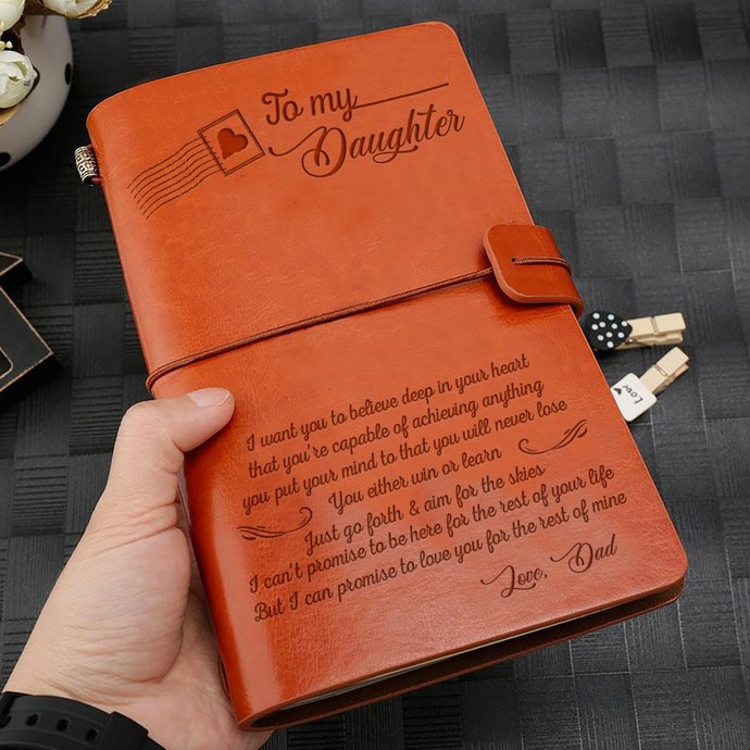 Christmas Gifts For Daughter - Great Gift For Daughter Engraved Leather Notebook