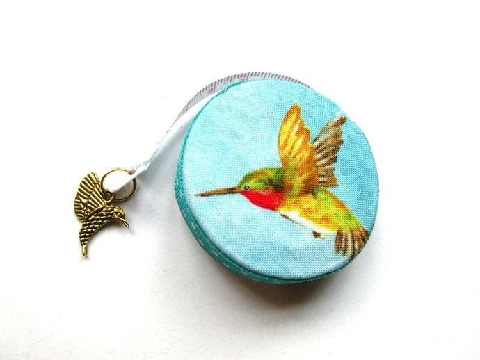 Tape Measure Hummingbirds on Blue Small Retractable Measuring Tape