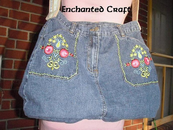Upcycled Jean Purse- large and embroidered