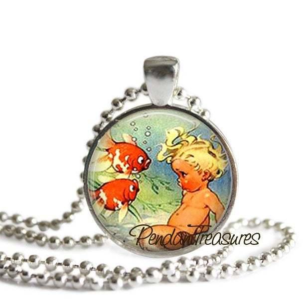 BABY MERMAID Pendant Necklace Jewelry, Vintage Mermaid Photo Art Jewelry,