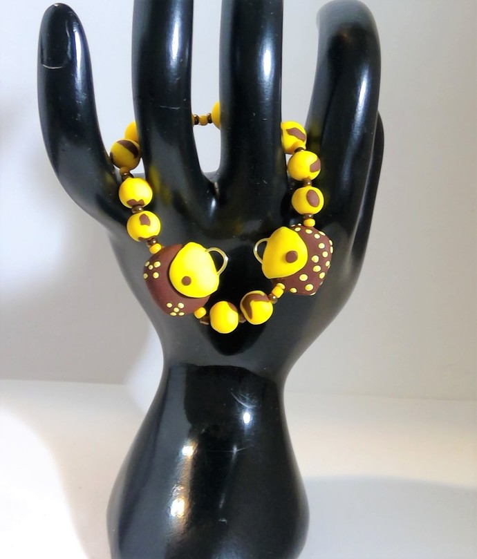girl's Yellow Polka dot Purse Bracelet holiday gift polymer clay jewelry