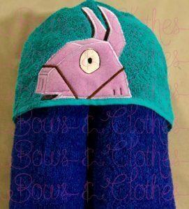 PURPLE LLAMA -  Hooded Towel (mine craft)