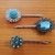 Bobby pins ~ set of three ~ Blue jeweled and cabochon