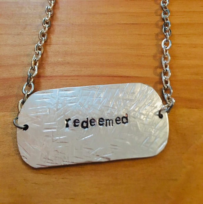 Redeemed Hand stamped necklace