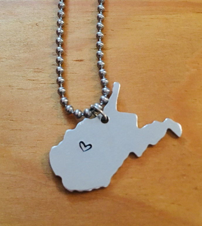 West Virginia necklace with heart stamp ~ comes on a ball chain
