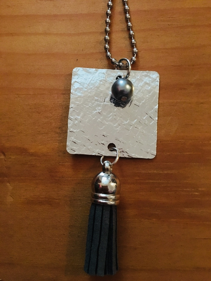 Grey Tassel Necklace ~ comes on a ball chain