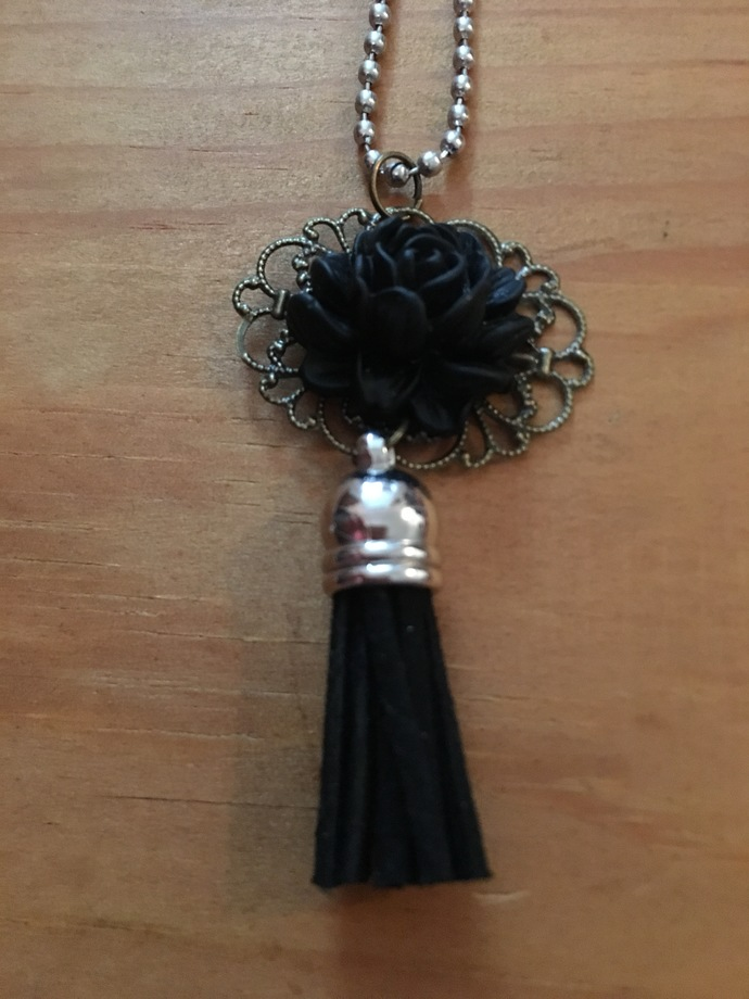 Black Rose and Tassel Necklace ~ Comes on a ball chain