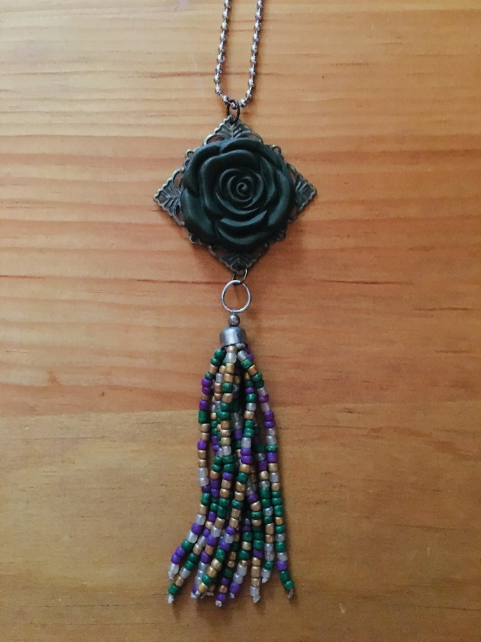 Green Rose and Beaded Tassel Necklace ~ comes on a ball chain