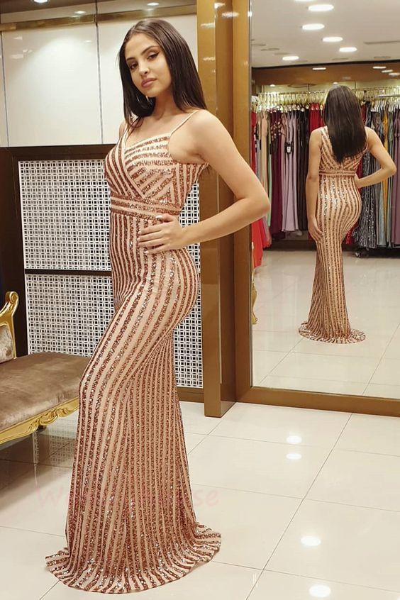 rose gold sequins prom dress, 2020 evening dress prom dress  P2253
