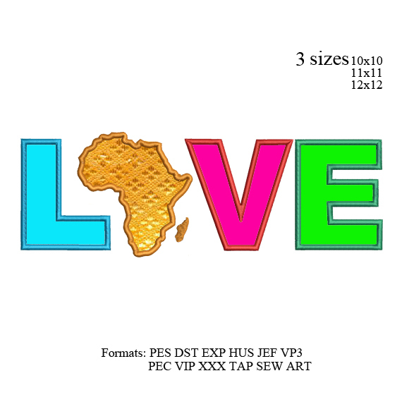 Eternal Love for Africa Continent Applique embroidery design, Africa Continent
