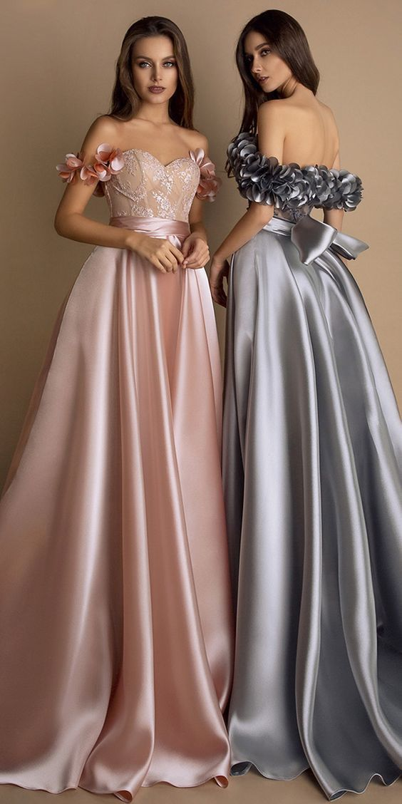 Stunning Satin & Lace Sweetheart Neckline Floor-length A-line Evening Dresses